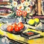 """Jēkabs Sprinģis """"Klusā daba"""" akvarelis, 21x21, 1961."""