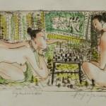 """Aleksejs Kazačenko grafika no cikla """"Sultāna sievietes"""" II, 2016"""