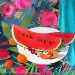 """Ligija Bodniece """"Klusā daba ar arbūzu"""" a/a, 61x50, 2011."""