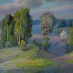 """V.Sviklis """"Ainava"""" (50x61), k/e, 1992."""