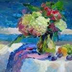 """Inga Pērkons """"Klusā daba ar ziediem"""" (49x59), a/e, 2015."""