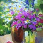"""Inga Pērkons """"Vāze ar ziediem"""" (38x52) k/e, 2016."""