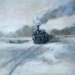 """Igors Bernāts """"Vilciens"""" (24x30), a/a, 2015."""