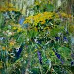"""Inga Pērkons """"Pļava"""" (42x49) k/e, 2015."""