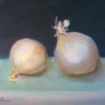 "Anita Putniņa ""Baltie sīpoli"" a/e, 24x30, 2013."