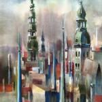 """Zigurds Šnore """"Rīga"""" akvarelis, 35x58, b.g."""