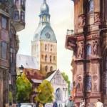 """Aleksandrs Gavrjutins """"Doma laukums"""" akvarelis, 46x30, 2015."""