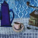 """Aleksejs Kazačenko """"Zilā kafijas krūze"""" kolāža, 50x70, 2017."""