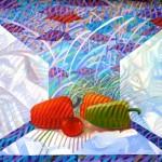"A.Lapetrovs ""Klusā daba ar dažām paprikām"" k/e (50x70), 2012."
